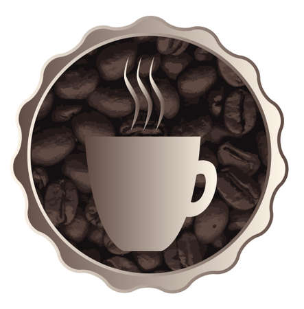 A collection of fresh coffee beans with a graphic design cup image