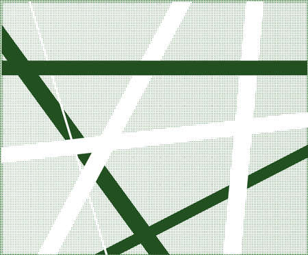 criss cross: A green halftone background with black and white criss cross items.
