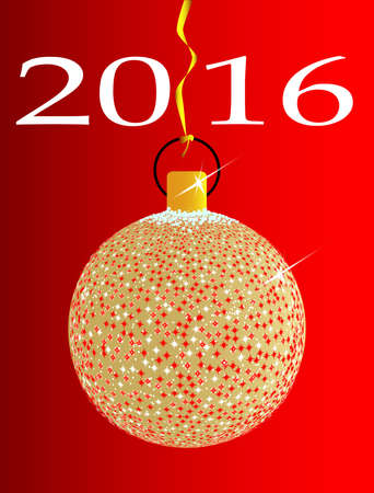 star spangled: A gold and spakly Christmas tree ball decoration for 2016