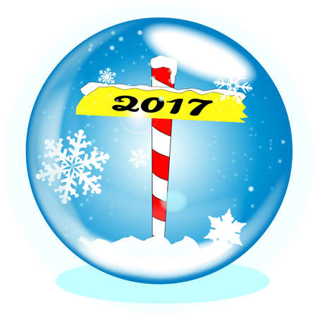 winter scene: A crystal ball over a winter scene background with a North Pole sign