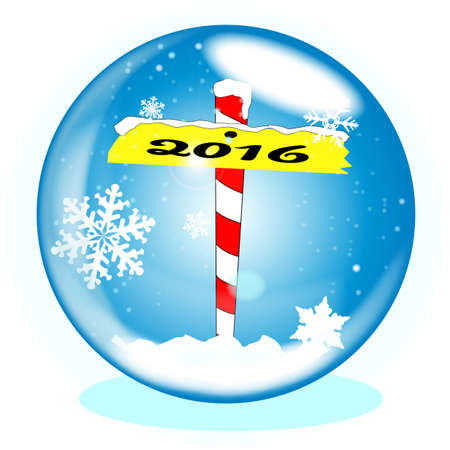 north pole: A crystal ball over a winter scene background with a North Pole sign