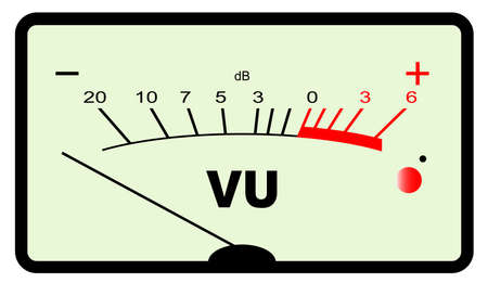 decibels: A typical analogue audio meter as found on old tape recorders with the needle in the black