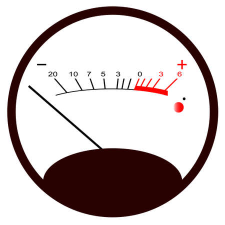 decibel: A typical analogue audio meter as found on old tape recorders with the needle in the black