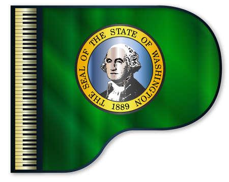The Washington flag set into a traditional black grand piano Illustration