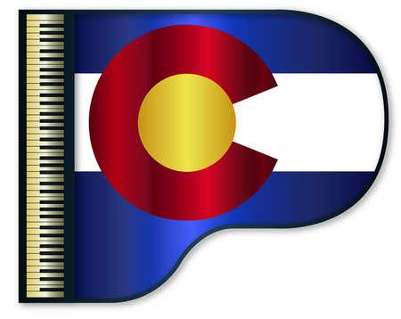 stringed: The Colorado flag set into a traditional black grand piano