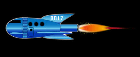 A cartoon space craft with a black background and the text 2017