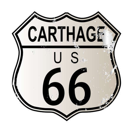 mormon: Carthage Route 66 traffic sign over a white background and the legend ROUTE US 66