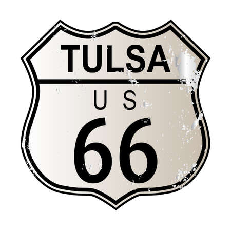 tulsa: Tulsa Rosa Route 66 traffic sign over a white background and the legend ROUTE US 66