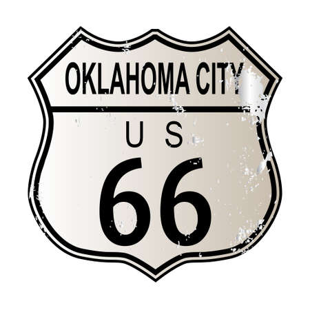 oklahoma city: Oklahoma City Route 66 traffic sign over a white background and the legend ROUTE US 66 Illustration