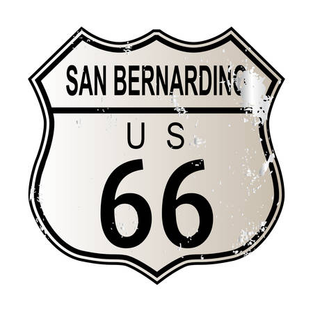 legend: San Bernardino Route 66 traffic sign over a white background and the legend ROUTE US 66 Illustration