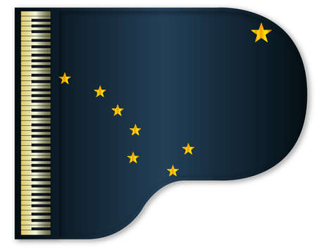 stringed: The Alaska state flag set into a traditional black grand piano