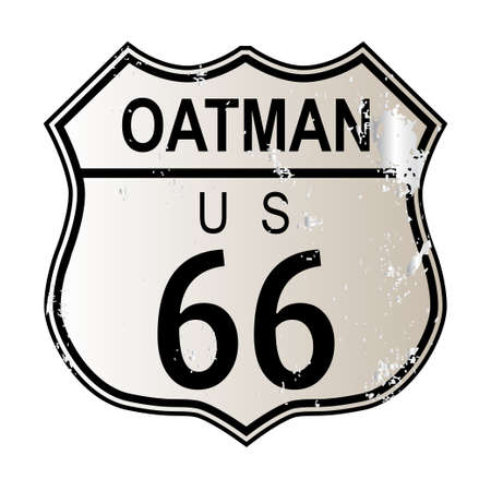 highway 6: Oatman Route 66 traffic sign over a white background and the legend ROUTE US 66 Illustration