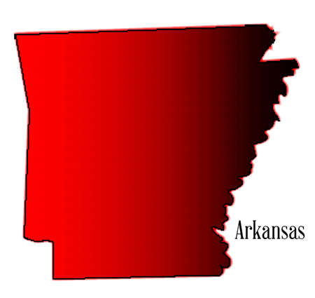 arkansas: Halftone state map outline of Arkansas over a white background