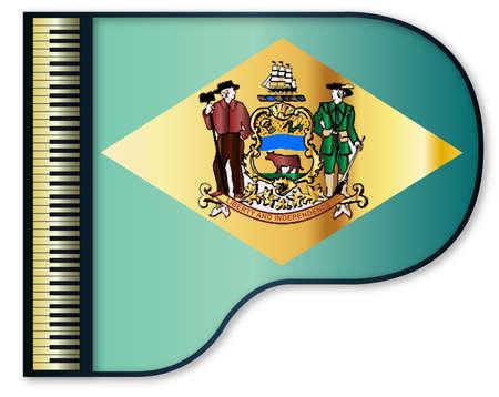 delaware: The Delaware state flag set into a traditional black grand piano Illustration