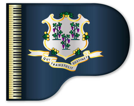 stringed: The Connnecticut state flag set into a traditional black grand piano