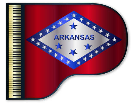 The Arkansas state flag set into a traditional black grand piano Illustration