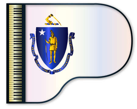 stringed: The Massachusetts  state flag set into a traditional black grand piano Illustration