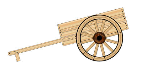 lds: A typical Mormon wooden empty hand cart