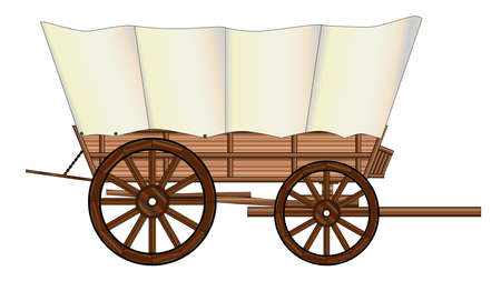 wagon wheel: A typical wheel from a western covered wagon Illustration