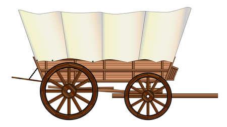Een typisch wiel van een westerse huifkar