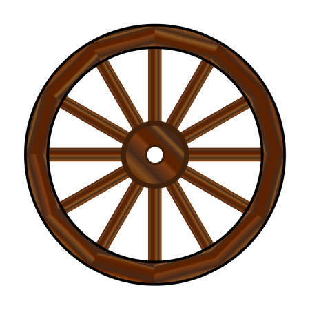 A typical wheel from a western covered wagon Ilustrace