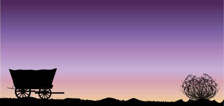 Een Texaanse woestijn zonsondergang scène met tumbleweed en een huifkar