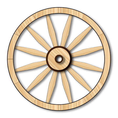 wagon wheel: A typical wheel from a western covered wagon Stock Photo