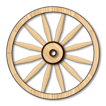 Een typisch wiel van een westerse huifkar Stockfoto
