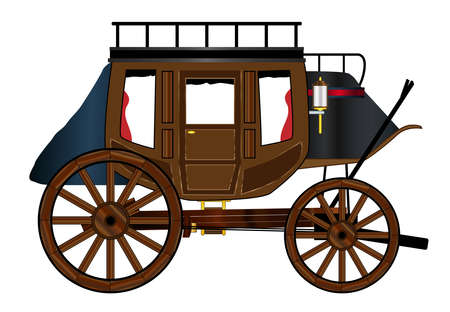 A typical estern stage coach drawing over a white background Vectores