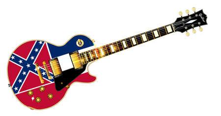 ミシシッピ州旗と決定的なロックン ロールのギターはシール白地に分離されたフラグです。  イラスト・ベクター素材
