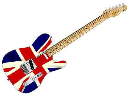 union jack flag: A classic electric guitar with the Union Jack flag over white Illustration