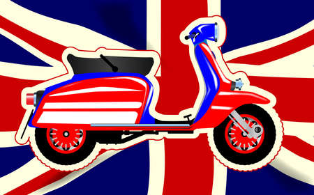 motor scooter: A typical 1960 style motor scooter over a Union flag background