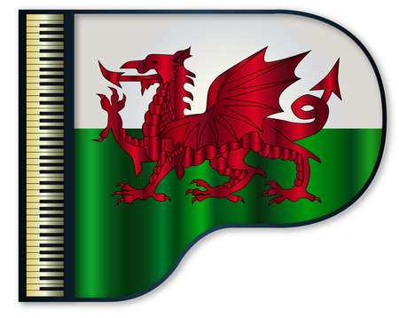 The Welsh flag set into a traditional black grand piano Illustration