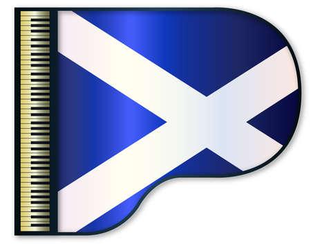 scottish flag: The Scottish flag set into a traditional black grand piano Vettoriali