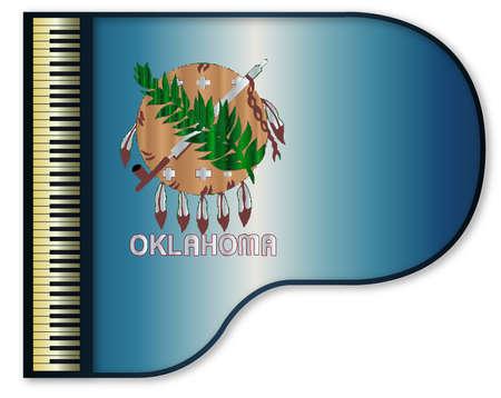 oklahoma: The Oklahoma state flag set into a traditional black grand piano Illustration