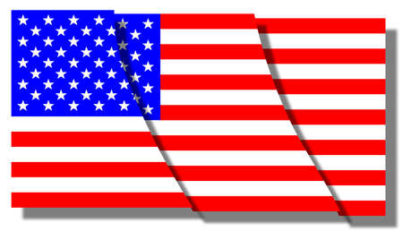 segmented: The Stars and Stripes flag of the United States of America segmented into sections over white