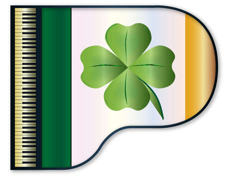 irish flag: The Irish flag set into a traditional black grand piano