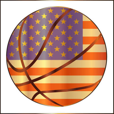 stitching: A stars and stripes Basketball with red stitching