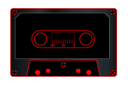 fashioned: A typical old fashioned audio cassette in black over a white background