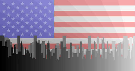 bleak: A grey cityscape shown in grey and silhouette with the Stars and Stripes underlay