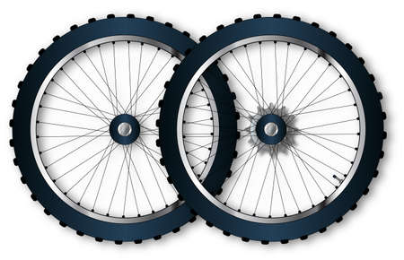 spoke: A pair of knobly tyres from a bicycle wheel with driving gear valve and spoke nipples.