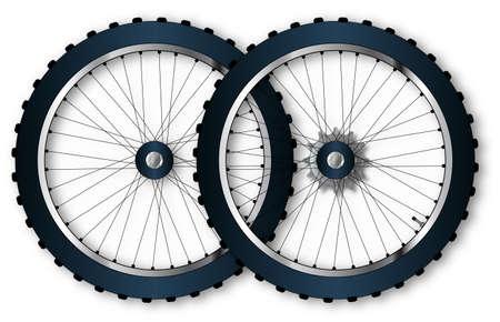 niples: Un par de neum�ticos knobly de una rueda de bicicleta con la v�lvula de la conducci�n de engranajes y habl� pezones.