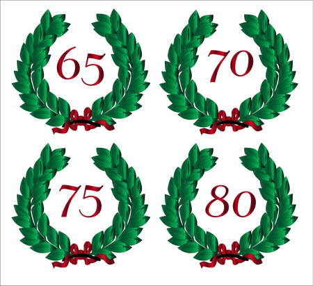 numbered: 4 Numbered wreaths with a number isolated on a  white background