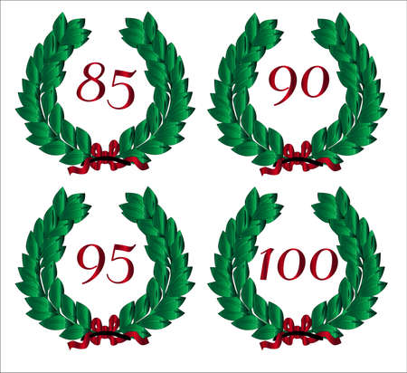 85 90: 4 Numbered wreaths with a number isolated on a  white background