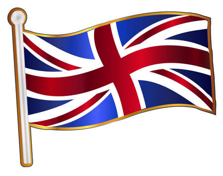union jack flag: A fluttering Union Jack flag pin badge over a white background