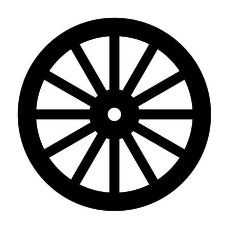 A typical wheel from a western covered wagon in silhouette Ilustração