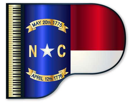 stringed: The North Carolina state flag set into a traditional black grand piano Illustration