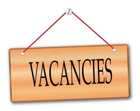 vacancies: Vacancies plack in woodgrain with red string and screw