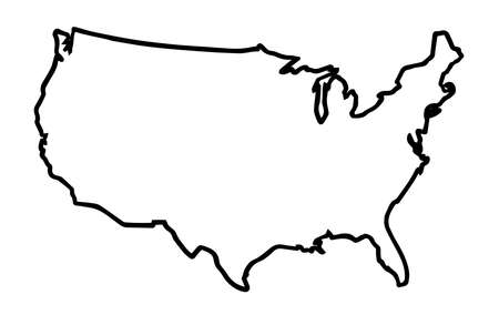 A broader outline map of the United States of America over a white background Ilustração