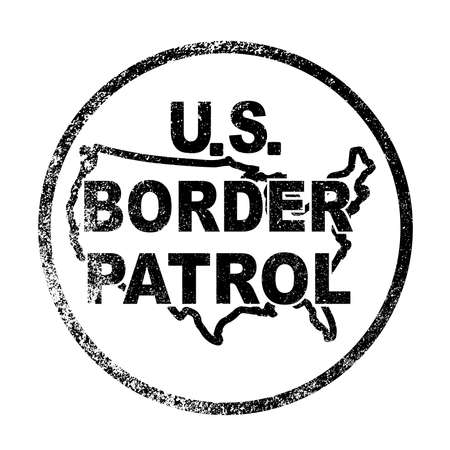 border patrol: A rubbr ink stamp of the United States Border Control button